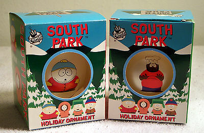 TWO Comedy Central South Park Christmas Holiday Ornaments Cartman and Chef