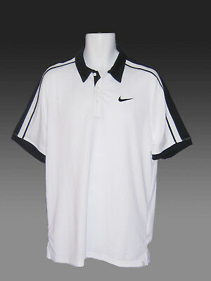 New Vintage NIKE TENNIS DriFit Polo Shirt White with Navy Blue Trim M