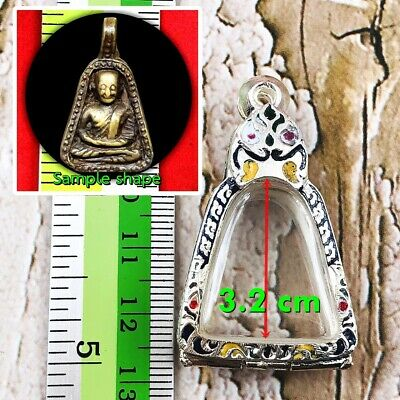 0203-Thai Art Emerald Buddha Statue Meditation Amulet Green Old Gem Gold Armor
