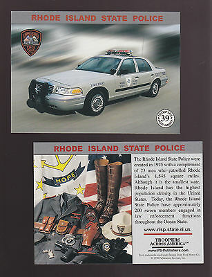 RHODE ISLAND RI STATE POLICE TROOPERS Ford Squad Car Highway Patrol 1999 CARD