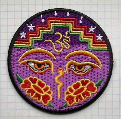 Eyes of Buddha peace trance yoga Lotus Embroidered Cloth Iron On Patches