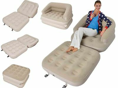 5In1 Inflatable Single Flocked Sofa Couch Bed Mattress Airbed Bed Beige Lounger