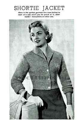 Vintage Knitting Pattern 1950s Lady's Short Fitted Jacket. Quick Knit.