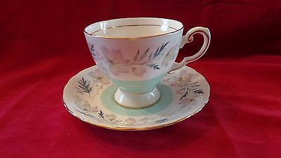 English Tuscan Bone China Tea Cup Saucer Pattern ARUNDEL Mint Green with leaves