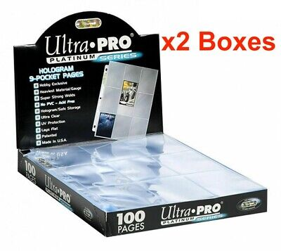 2 X Box Of 100 Ultra Pro Platinum 9 Pocket Card Sleeves Pages Afl Pokemon 200