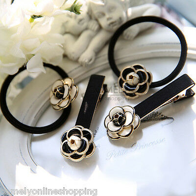 Fashion Women Flower Hairband Hair Clip Barrette Hairpin Ponytail Holder Band