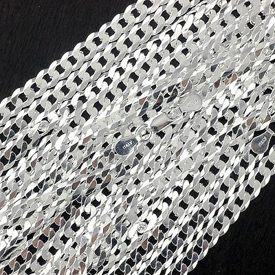 "Wholesale Lot 5PCS 925 Sterling Silver Curb Chain Gauge 140 5.5mm 20"" Italy"