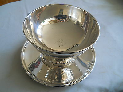 "Christofle Silver Plate Pedestal Bowl & Under Tray 8"" Diameter"
