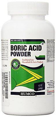 3 Pack - Boric Acid Powder Humco 12 Oz Each