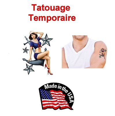 Tatouage Temporaire Sailor Pin Up Ancre Marine Tatoo Made In Usa