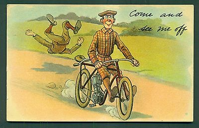 """1912 Motor-Bicycle Comical Postcard """"Come and see me off"""""""
