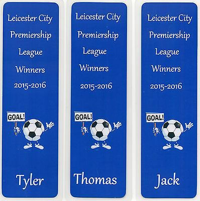 3 Personalised Leicester City Premiership League Winners Bookmarks Laminated.