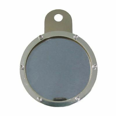 Tax Disc Holder Round 6 Screws, Blue Glass, Chrome Backing