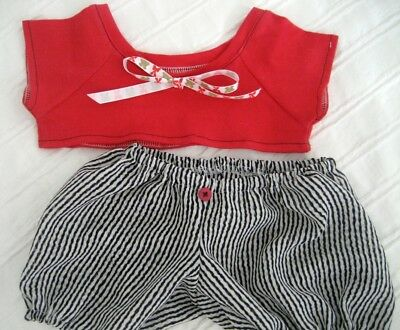Teddy Bear Clothes, Handmade Frankie Red T-Shirt, Fun Black & White Stripe Pants