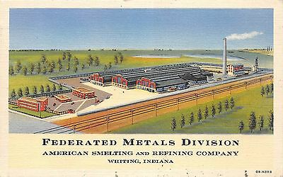 A59/ Whiting Indiana In Postcard 1947 Linen Federated Metals Division Factory