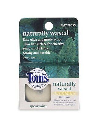5 Pack - Tom's Naturally Waxed Anti-Plaque Flat Floss Spearmint 32 Yards Each