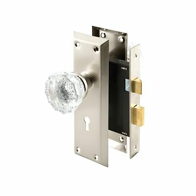 Prime-Line Products E 2496 Keyed Mortise Lock Set with Glass Knob Satin N... New
