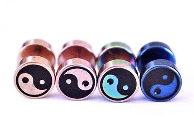 1 - 2pcs Yin Yang Symbol Fake Cheater Earplug Earring piercing Stretcher Tunnel