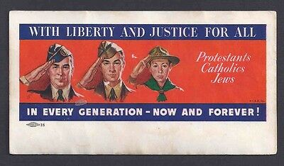 Ca 1940'S MINT BLOTTER W/LIBERTY & JUSTICE FOR ALL PROTESTANTS CATHOLICS & JEWS