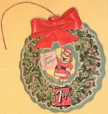 RARE 1950's 7-UP CHRISTMAS Advertising 2-sided SIGN w/ Disney's FRESH UP FREDDIE