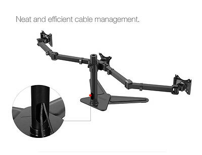 Triple Monitor Arms Free Standing Desk Mount Stand for 3 LCD Screens up to 27""