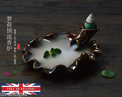Back Flow Lotus Leaf Ceramic Incense Burner Holder Backflow & 5 Free Cones