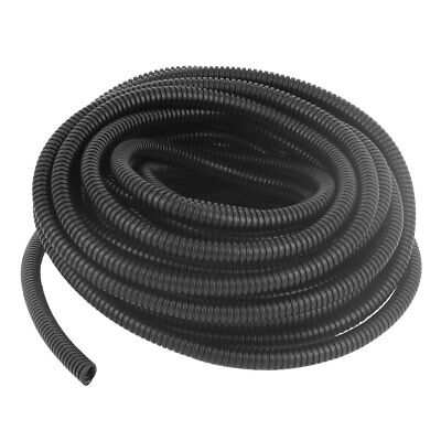10.5M Long 10mm Diameter Plastic Corrugated Tube Electric Conduit Pipe Black