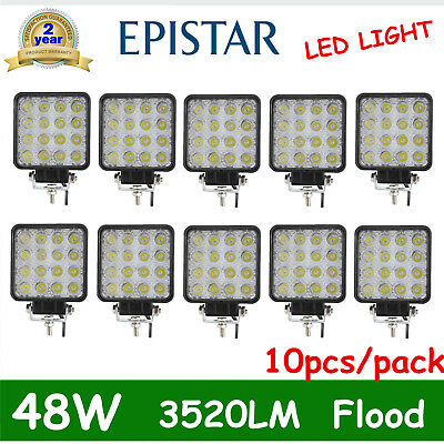 10X 48W Led Work Square Light 12V 24V Offroad Truck 4X4 Boat Suv Lamp Spot Flood