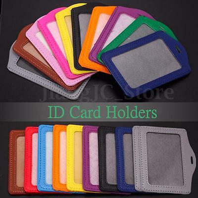 10Pcs Leather Pocket ID Credit Card Pass Badge Neck Strap Lanyard Case Holders