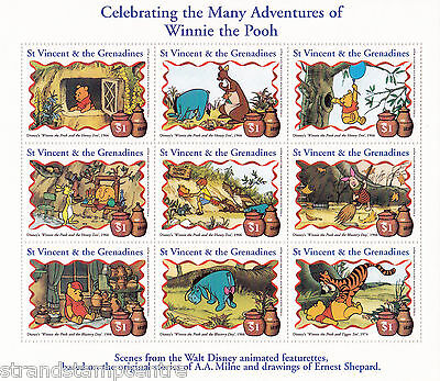 The Adventures of Winnie The Pooh Miniature Sheet from St Vincent & Grenadines