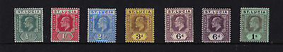 St Lucia - 1904-10 ½d to 1/- (Including 6d (2) Shades) - Mtd Mint - SG 64-75