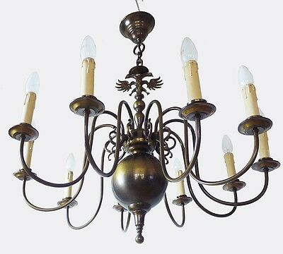 Large Flemish Renaissance Brass CHANDELIER with 10 Arms and Double Eagle