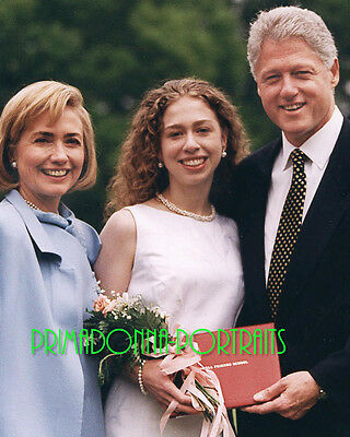 HILLARY, BILL, & CHELSEA CLINTON 8X10 Lab Photo 1990s High School Grad Portrait