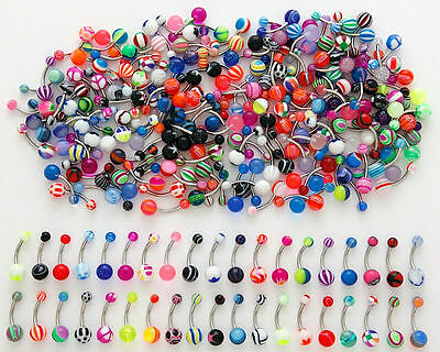 Lot Of 100 Mix Color Stainless Acrylic Ball Barbell Bar Navel Belly Button Ring