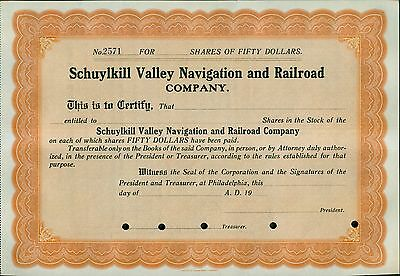 1900's Schuylkill Valley Navigation and Railroad Co. Unissued Stocks Lot of 30