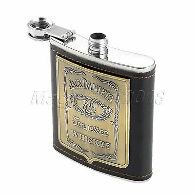 Black Portable Fashion Engraved Leather Cover 7oz Hip Flask Whiskey Alcohol Gift
