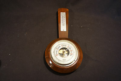 Old Vtg Banjo Style STELLAR Barometer Thermometer Brass Wood Made In Germany