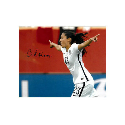 Christen Press signed 8x10 Photo First Goal Team USA 15 World Cup (side view)