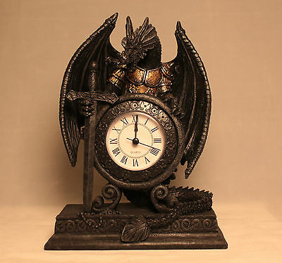 Dragon in Armour Grey Black Gothic Clock Battery operated Gift Present