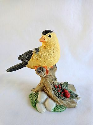 """Bird Figure 3"""" YELLOW GOLDEN FINCH Perched on Tree Resin Collectible"""