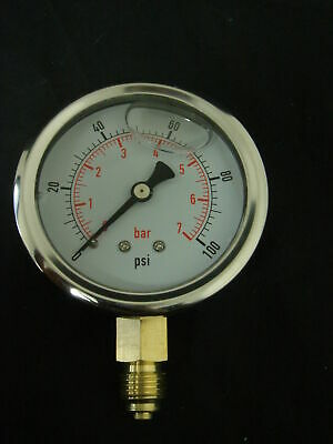 Pressure Gauge Liquid Filled BSPT 0 – 100 psi 7 Bar (700 KPA) Air Water Gauge