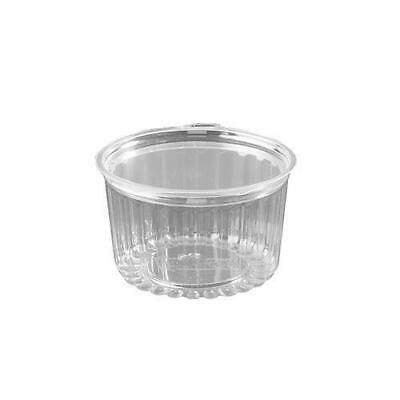 250x Clear Plastic Container with Hinged Flat Lid 16oz / 455mL Disposable Salad