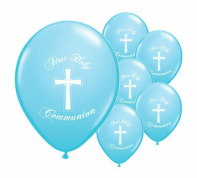 "10 x BLUE FIRST HOLY COMMUNION 12"" HELIUM BALLOONS PARTY DECORATIONS  (PA)"