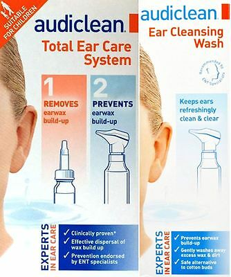 Audiclean Total Ear Care System 12ml Ear Wax Remover & 60ml Ear Cleansing Wash