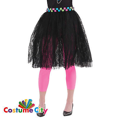 Adult Womens Black Lace 80s Skirt 1980s Fancy Dress Party Costume Accessory