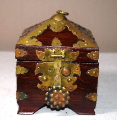 Vintage Asian Wooden Box with Brass Accents - Has Chinese Lettering on inside!