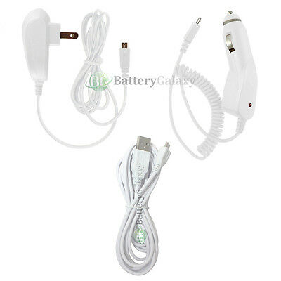 10FT 2 AMP USB Cable+Wall+Car Charger Fast W for Samsung Galaxy S S3 S4 S5 S6 S7