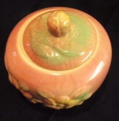 Vintage Hull Sunglow Pink Pottery Yellow Flower USA 53 Covered Container