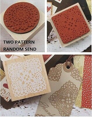 5*5cm Elegant Lace Doily Wooden Rubber Stamps for Card-making Scrapbooking DIY