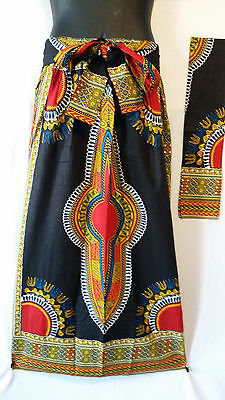 Ankara African Maxi Women Skirt Dashiki Print 2 Pocket & Belt Free Size Black
